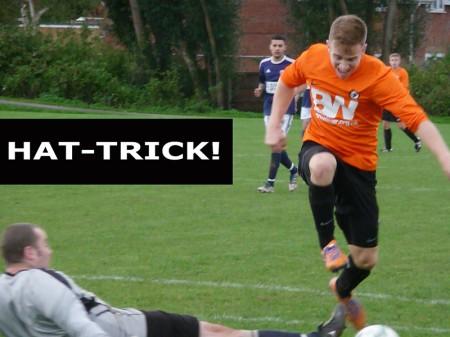 Bradley Stoke Town FC's Sam Peplow scores a hat-trick against St Pancras.