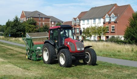 South Gloucestershire Council grass cutter on Bradley Stoke Way.