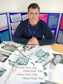 BSTC's Graham Baker with a selection of skate park design brochures.