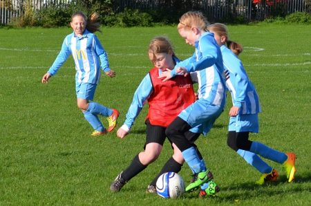 Bradley Stoke Youth FC's Under-11 Girls Team in action against Longwell Green.