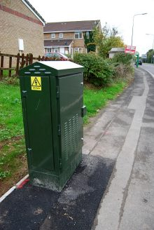 New BT fibre cabinet on Baileys Court Road, Bradley Stoke, Bristol.