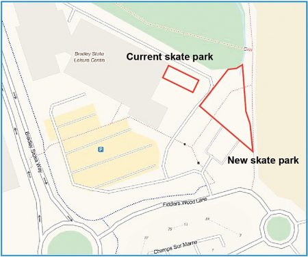 Plan showing location of a proposed new skate park in Bradley Stoke.