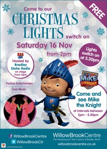 Christmas lights switch-on event at the Willow Brook Centre.