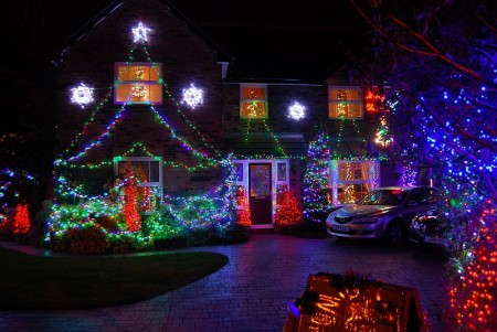 Christmas lights display in Watch Elm Close, Bradley Stoke.