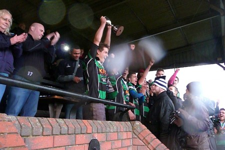 St Mary's Old Boys RFC Under-16s celebrate their cup final win.