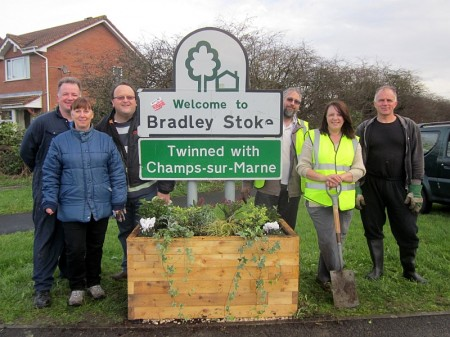 Bradley Stoke in Bloom group with planter.