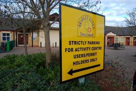 Sign displayed in the car park in early December 2013.