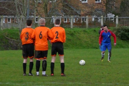 Bradley Stoke Town FC's A Team in action against Brsitol Deaf.