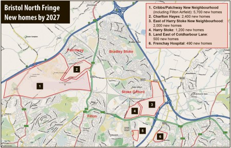 Housing developments planned for the North Fringe of Bristol by 2027.