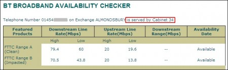 Broadband availability checker cabinet result.
