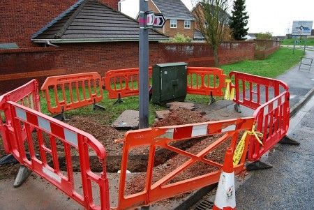 Work at BT Cabinet no. 35 on Webbs Wood Road, Bradley Stoke.