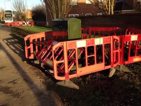 Soon-to-be fibre-enabled BT cabinet no. 35 on Webbs Wood Road, Bradley Stoke, Bristol.