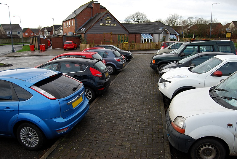 Car park at the Hollow Tree public house in Bradley Stoke, Bristol.