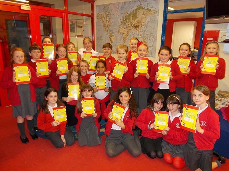 """The cast of """"Seussical the musical"""" at Baileys Court Primary School."""