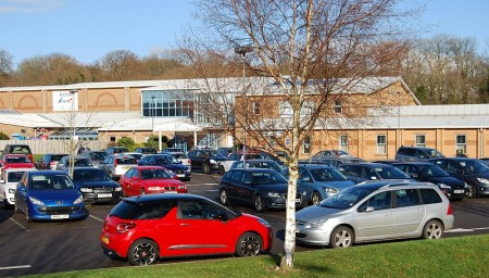 Packed car park at Bradley Stoke Leisure Centre, Bristol.