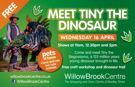 Meet Tiny the dinosaur at the Willow Brook Centre.