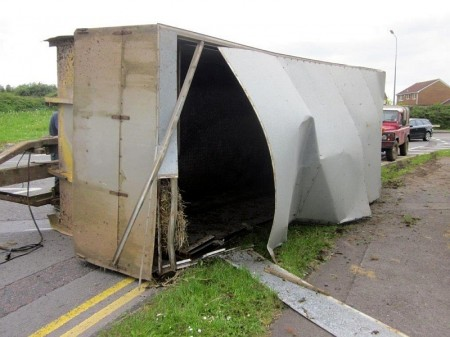 Overturned cattle trailer in Bradley Stoke, Bristol.