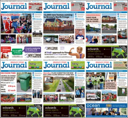 Bradley Stoke Journal magazine covers: Six issues to May 2014.