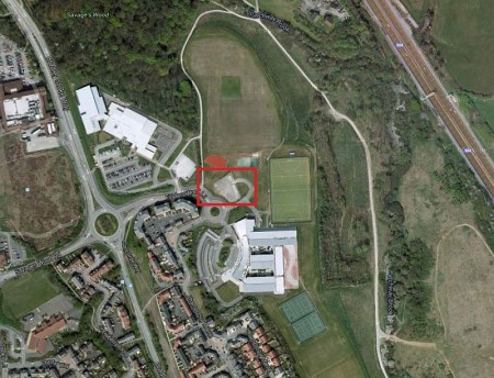 Location of the proposed primary age provision building on the BSCS site.
