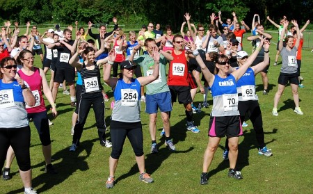 Pre-race exercise/entertainment at the 2014 Bradley Stoke 10k Run.