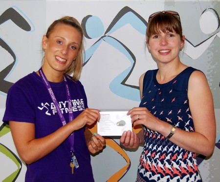 Abbie Davies (right), winner of the BSJ Anytime Fitness prize draw.
