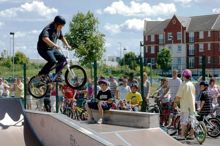 A competition in progress at Bradley Stoke Skate Park.