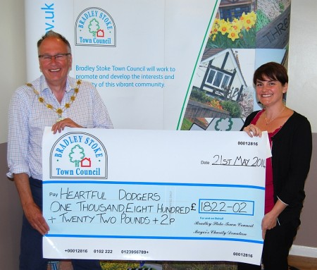 Cllr Brian Hopkinson presents a cheque to Louise Hill of the Heartful Dodgers.
