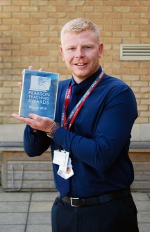 Matt Smith, a teacher at Meadowbrook Primary School in Bradley Stoke, with his Pearson Teaching Award.