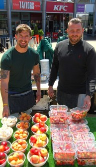 Ronnie's Fruit, Veg & Salad stall in the town square at the Willow Brook Centre, Bradley Stoke.