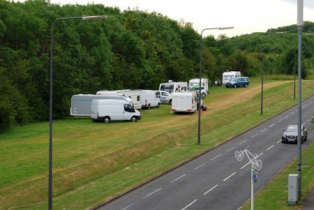 Traveller caravans at an illegal encampment alongside Bradley Stoke Way.