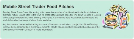 Advert for mobile food trader pitches at sites owned by Bradley Stoke Town Council.