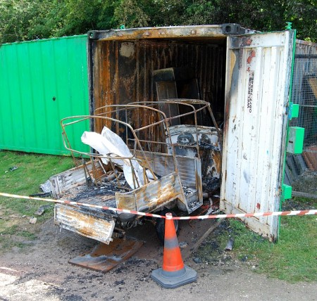 Aftermath of a suspected arson attack on a storage container at the Baileys Court Activity Centre in Bradley Stoke, Bristol.