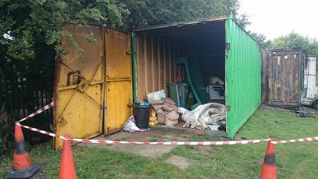 Fire-damaged container housing equipment belonging to Bradley Stoke Cricket Club.