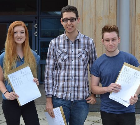 A-level high-achievers at Bradley Stoke Community School (l-r): Sophie Maxted, Alex Shoferpoor and Joe Whetter.