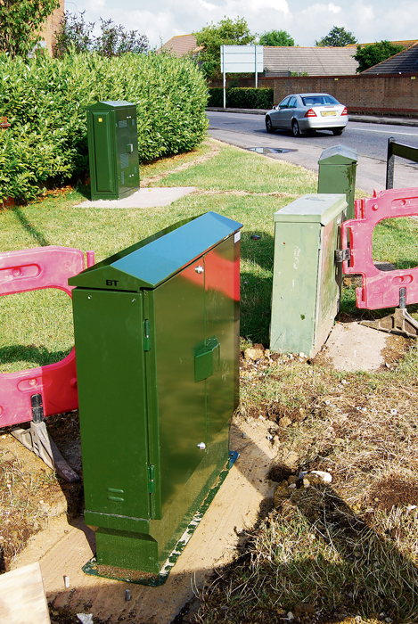 New fibre-enabled cabinet for exchange only (EO) lines at the junction of Brook Way and Savages Wood Road in Bradley Stoke, Bristol.