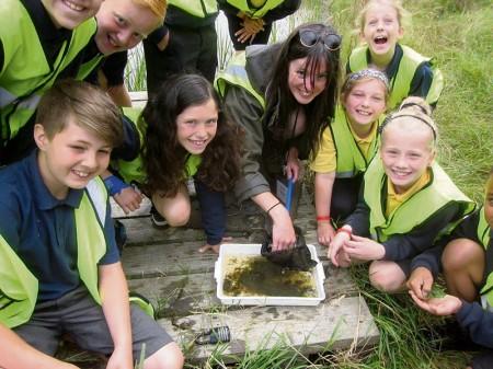 School children take part in the Three Brooks BioBlitz.