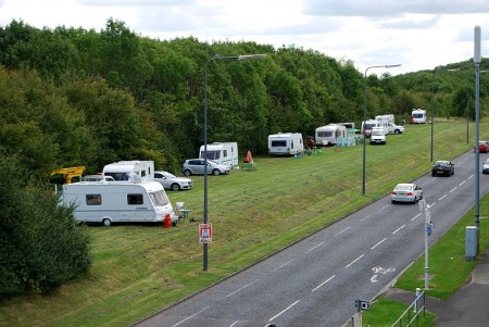Illegal traveller encampment on Bradley Stoke Way - pictured at 12pm on Friday 22nd August 2014.