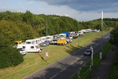 Illegal traveller encampment on Bradley Stoke Way - pictured at 6pm on Friday 22nd August 2014.
