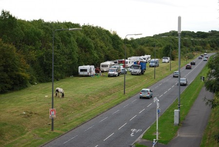 Illegal traveller encampment on Bradley Stoke Way - pictured at 7pm on Sunday 24th August 2014.