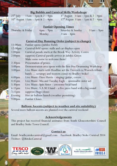Programme for the 2014 Bradley Stoke Carnival.