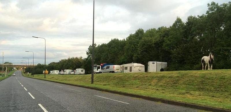 Illegal traveller encampment on Bradley Stoke Way. [Credit: Tim Bull]