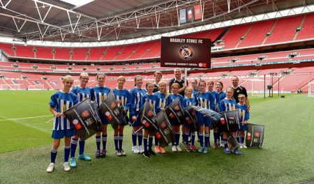 Bradley Stoke Youth FC Girls at Wembley Stadium on the day of the 2014 FA Community Shield.