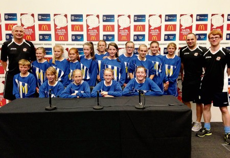 Bradley Stoke Youth FC Girls in the media suite at Wembley Stadium on the day of the 2014 FA Community Shield.