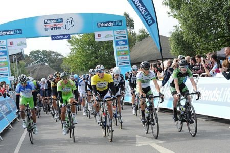 Friends Life Tour of Britain: Stage 2 rolls out of Knowsley. [Credit: The Tour on Flickr; link: http://bit.ly/1rV40CD]