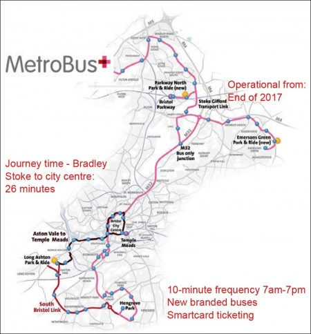 North Fringe to Hengrove Package MetroBus routes and journey time from Bradley Stoke.