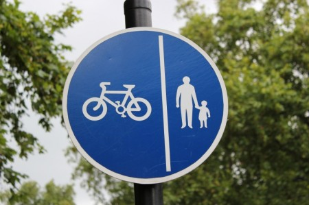 Sign for a shared use route for pedestrians and cyclists.