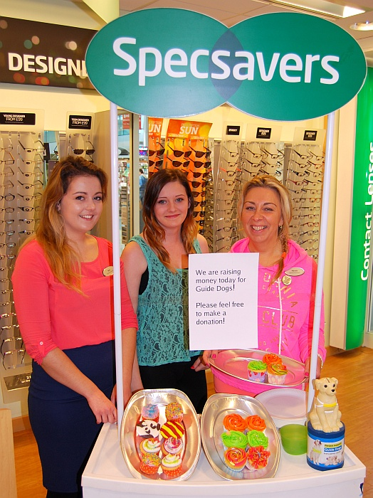 Staff at the Specsavers store in Bradley Stoke sell cupcakes in support of Guide Dogs Week. L-R: Beth, Hollie and Marcela.