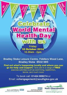 Poster advertising a World Mental Health Day event at Bradley Stoke Leisure Centre, Bristol.