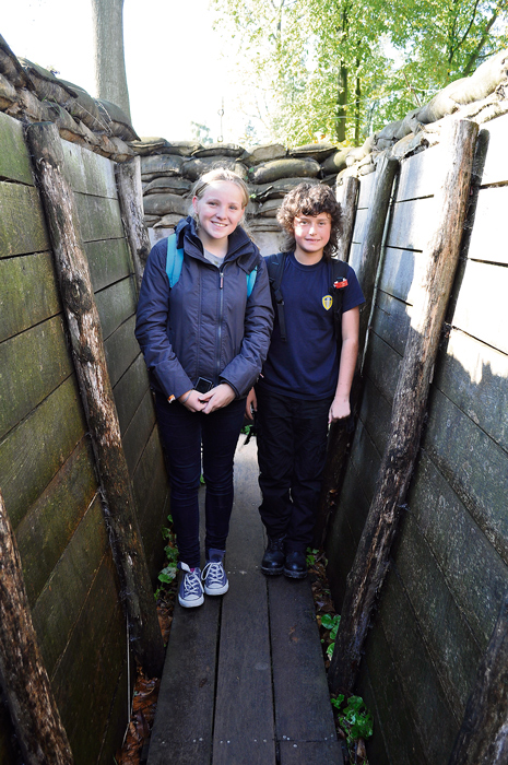 Bradley Stoke Community School students Jade Fisher and Billy Wilde in the reconstructed trenches at Passchendaele.