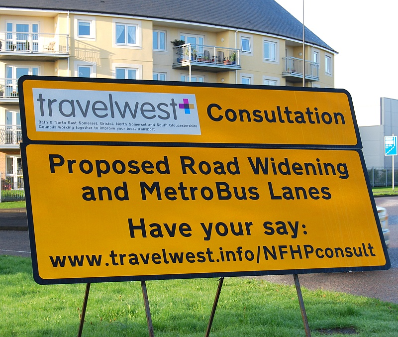 Sign advertising consultation on proposed road widening and bus lanes associated with the North Fringe to Hengrove Package MetroBus scheme.
